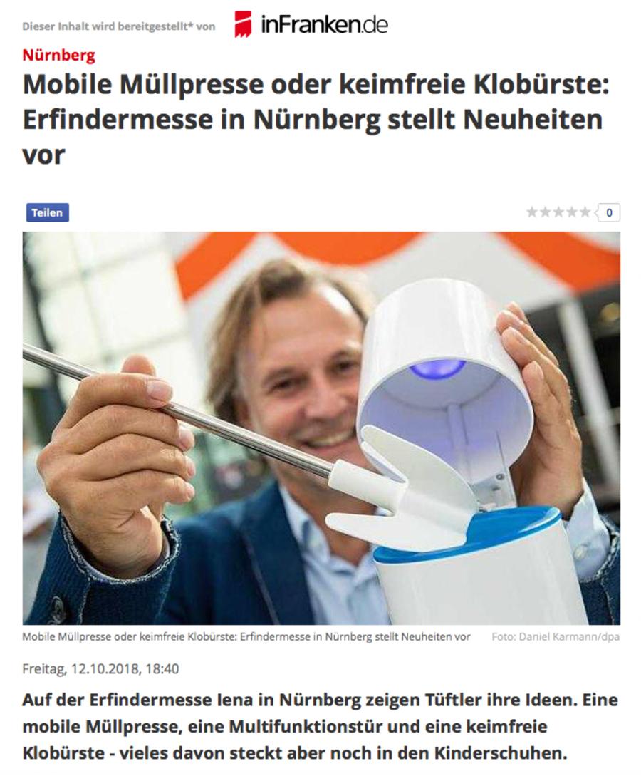 Keimfreie Toilettenbürste UV-C Licht Wunderblau/ inFranken.de